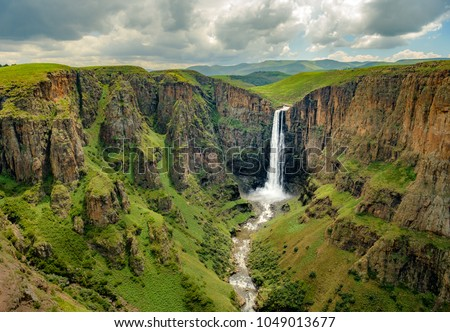 Maletsunyane falls lesotho africa most beautiful stock photo edit maletsunyane falls in lesotho africa most beautiful waterfall in the world green scenic landscape view preview publicscrutiny Images