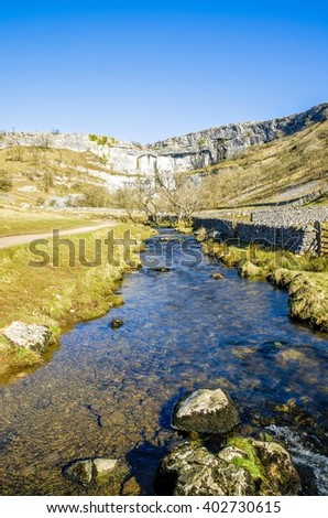 Malham Beck and Cove, Yorkshire England - stock photo