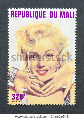 MALI - CIRCA 1996: a postage stamp printed in Mali showing an image of Marilyn Monroe, circa 1996.   - stock photo