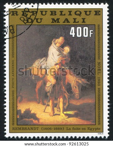 MALI CIRCA 1980: stamp printed by Mali, shows Flight to Egypt, by Rembrandt, circa 1980