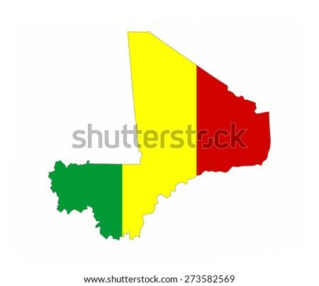 mali country flag map shape national symbol - stock photo