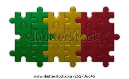 Mali flag assembled of puzzle pieces isolated on white background - stock photo