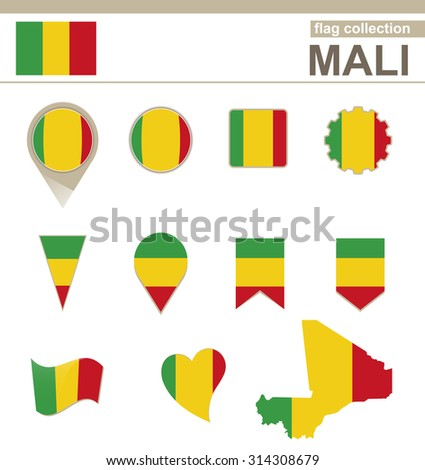 Mali Flag Collection, 12 versions, Rasterized Copy