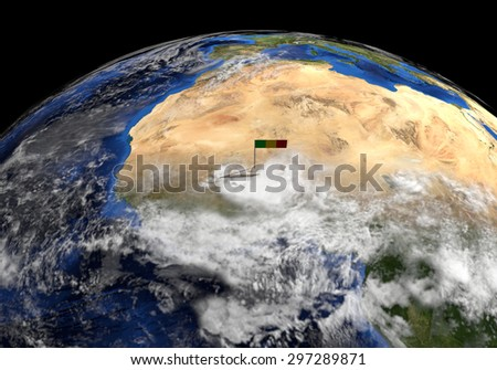 Mali flag on pole on earth globe illustration - Elements of this image furnished by NASA - stock photo