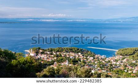 Mali Losinj sight from panoramic point in Croatia - stock photo