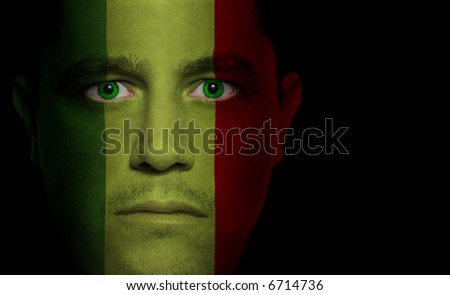 Malian flag painted/projected onto a man's face