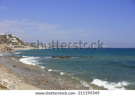 Malibu Beach California in the summer - stock photo