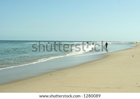 malibu beach line - stock photo