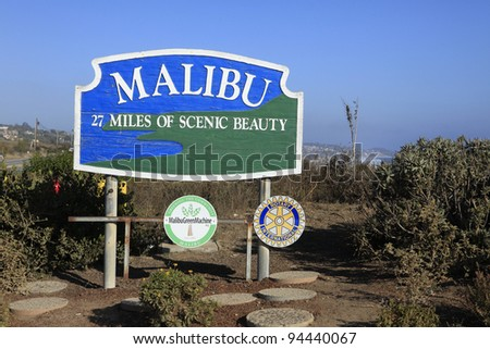 MALIBU - SEPTEMBER 1: Malibu sign along Pacific Coast Highway on September 1, 2011 in Malibu, California