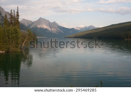 Maligne lake in Jasper national park, Alberta, Canada - stock photo