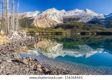 Maligne lake reflection - stock photo