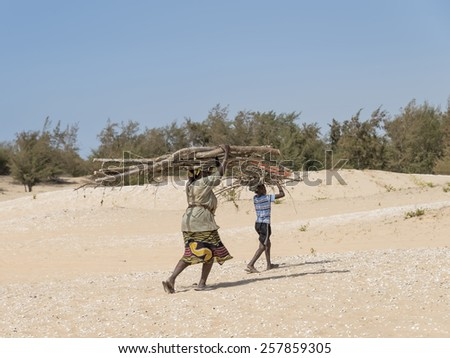 Malika, Senegal, July 31, 2014: Unidentified mother and son carrying filao branches on their head and walking in the dunes of the Retba Lake  - stock photo