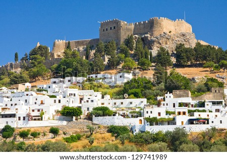 mall greek street in Lindos, Rhodes, Greece - stock photo