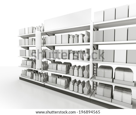 mall shelves with chemical detergents isolated on white background - stock photo