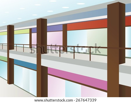 mall with windows and brown columns - stock photo
