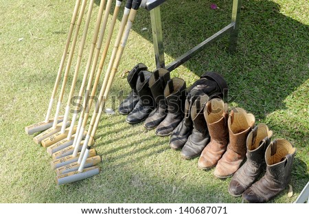 mallet and shoes - stock photo