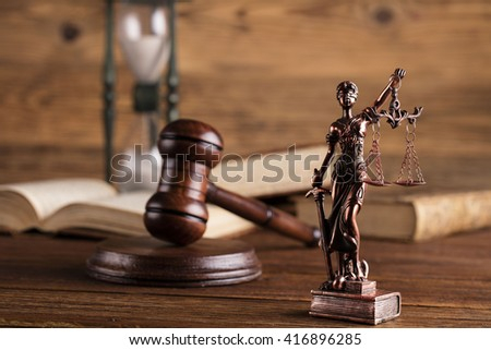 Mallet, legal code and scales of justice. Law concept, studio shots  - stock photo
