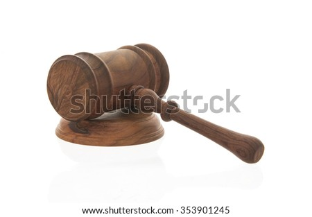 Mallet of judge, Court gavel,Law theme, Wooden judge gavel isolated on white background - stock photo