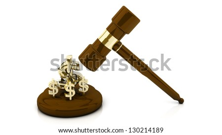Mallet of justice breaking a dollar sign - stock photo