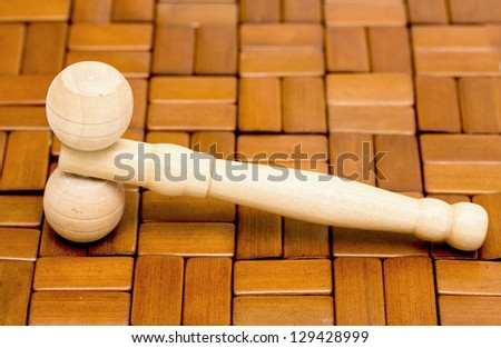 mallet on a wooden background - stock photo