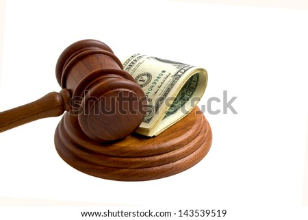 Mallet with dollars on a white background - stock photo