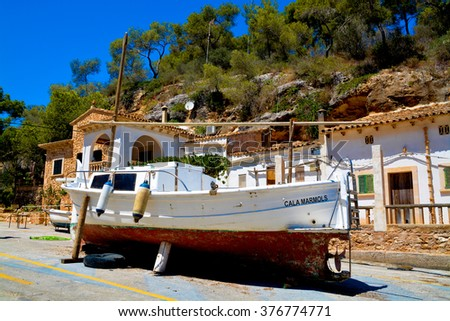 MALLORCA - AUGUST 01: row of boats moored in port of old town of Soller on August 01, 2015, Balearic Island, Spain. - stock photo