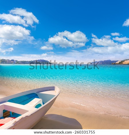 Mallorca Cala Santa Ponsa Ponca beach in Calvia Majorca Balearic islands of Spain - stock photo
