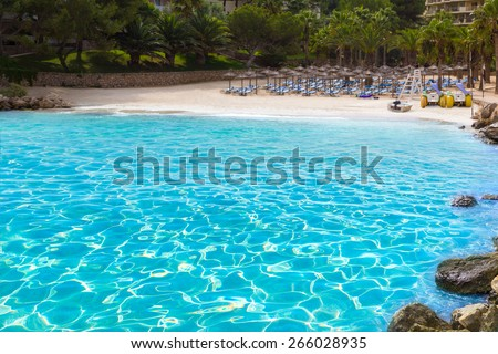 Mallorca Cala Vinyes Vinas beach in Calvia Mallorca at Balearic islands of spain - stock photo
