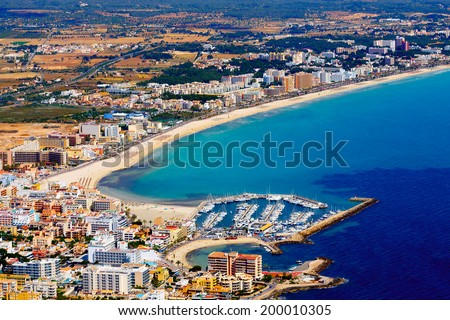 mallorca, can picafort, aerial shot city, beach and sea - stock photo