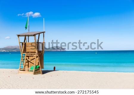 Mallorca Can Picafort beach in alcudia bay at Majorca Balearic islands of Spain - stock photo
