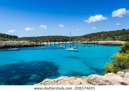 Mallorca national park. Sailing and motor yachts anchorage. - stock photo