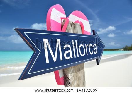 Mallorca sign on the beach - stock photo