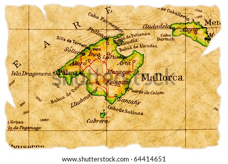 Mallorca, Spain on an old torn map from 1949, isolated. Part of the old map series. - stock photo