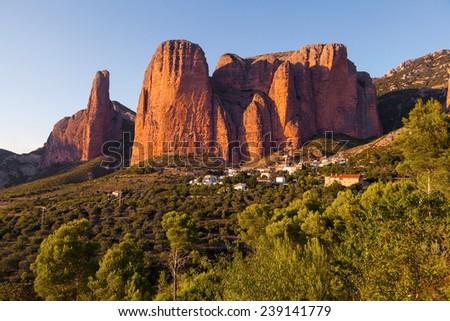 Mallos de Riglos in Huesca Aragon, Spain - stock photo