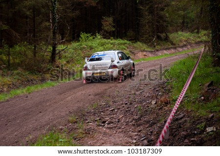 MALLOW, IRELAND - MAY 19: C. Britton driving Subaru Impreza at the Jim Walsh Cork Forest Rally on May 19, 2012 in Mallow, Ireland. 4th round of the Valvoline National Forest Rally Championship.