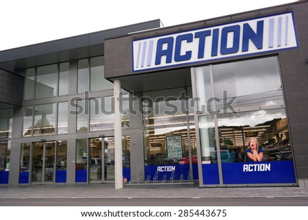MALMEDY, BELGIUM - MAY 9: Action is a Dutch discount store-chain. Sells in their variety stores low budget products. Action operates over 400 stores in Europe. Taken on May 9, 2015 in Malmedy, Belgium - stock photo