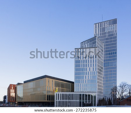 MALMO, SWEDEN - APRIL 19, 2015: Part of the new building blocks Malmo Live, ready for opening May 2015. Consist of apartments, hotels, congress hall and concert