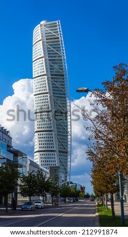 MALMO, SWEDEN   AUGUST 11, 2014: HSB Turning Torso, The Tallest Tower Great Pictures