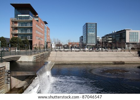 Malmo, Sweden - contemporary cityscape with waterway system. Malmo skyline.