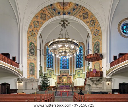 MALMO, SWEDEN - DECEMBER 13, 2015: Interior of St. John's Church (Sankt Johannes kyrka). The church was designed by the Swedish architect Axel Anderberg in the Art Nouveau style and built in 1903-1907 - stock photo