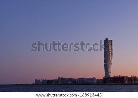 Malmo, Sweden - February 26: Turning Torso, a creation by the Spanish architect Santiago Calatrava, in Malmo Sweden, February 26, 2012.