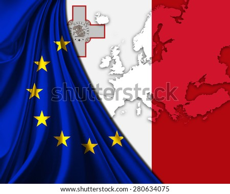 Malta and European Union Flag with Europe map background - stock photo
