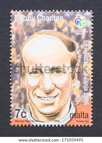 MALTA - CIRCA 2006: a postage stamp printed in Malta showing an image of Bobby Charlton, circa 2006.