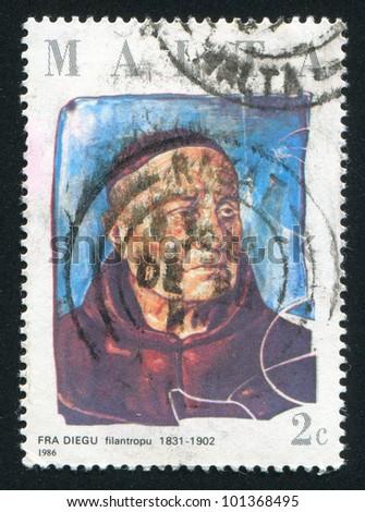 MALTA - CIRCA 1986: A stamp printed by Malta, shows Philanthropist Fra Diegu, circa 1986 - stock photo