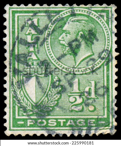 MALTA - CIRCA 1926: A stamp printed in MALTA shows image of the George V was King of the United Kingdom and the Dominions of the British Commonwealth, circa 1926.