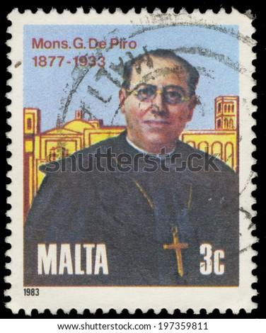 MALTA - CIRCA 1983: A stamp printed in Malta, shows Monsignor Giuseppe De Piro, Founder of Missionary Society of St. Paul, circa 1983 - stock photo