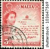 MALTA - CIRCA 1956: A stamp printed in Malta shows Queen Elizabeth II, King 's, circa 1956 - stock photo