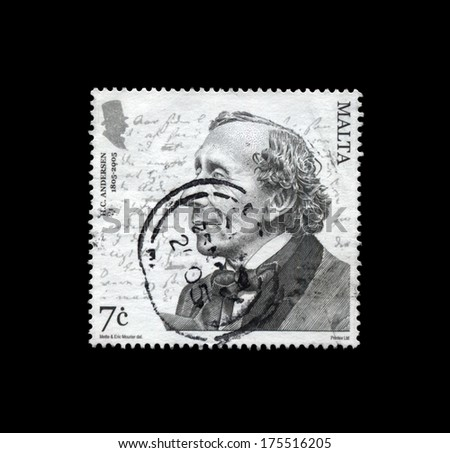 MALTA - CIRCA 2005: cancelled stamp printed in Malta shows tale writer Hans Christian Andersen, circa 2005. vintage post stamp isolated on black background.  - stock photo