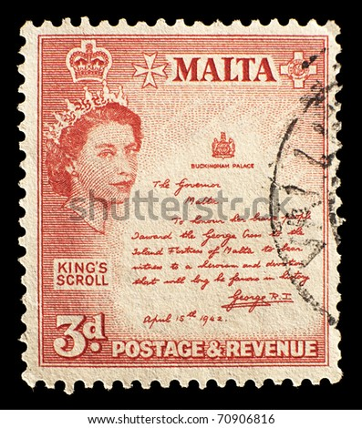MALTA - CIRCA 1956: old stamp shows Queen Elizabeth II, King Scroll 3d, Malta, circa 1956.