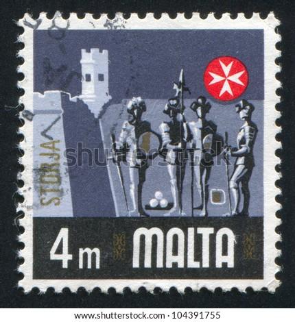 MALTA - CIRCA 1973: stamp printed by Malta, shows Knights, circa 1973 - stock photo